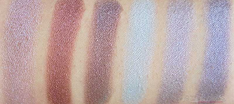 BH Cosmetics Galaxy Chic Eyeshadow Palette Swatches Bottom Row - Mercury, Mars, Asteroid, Uranus, Moon, Pluto