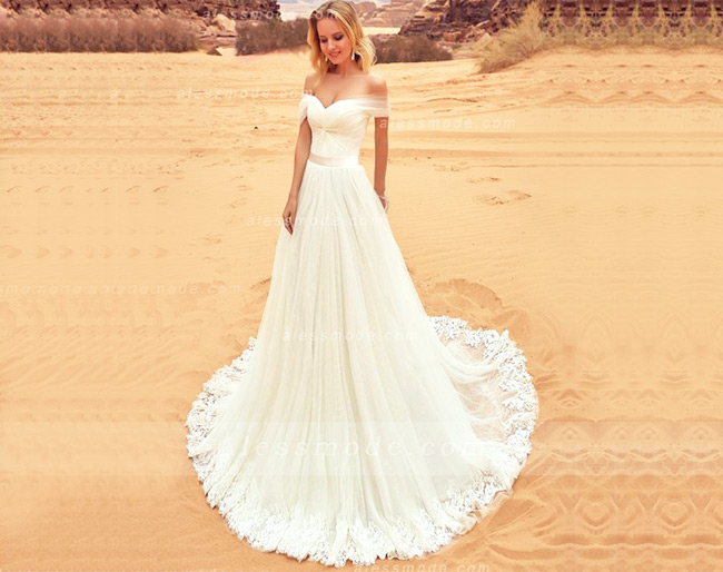 elegant off the shoulder long a-line/princess ivory tulle wedding dress with sash