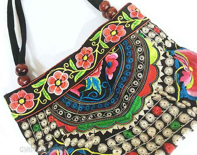 Ethnic Embroidery Peony Tote Handbag from Tosave