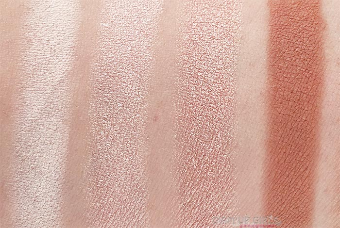Swatches of Humble, Charmer, Beaming and Toasty from Sigma Beauty Warm Neutrals Volume 2 Eyeshadow Palette