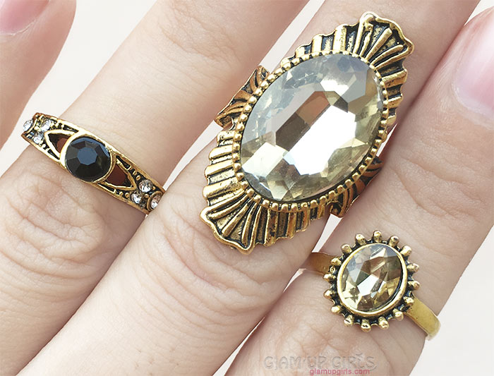 3PCS/Set Antique Vintage Gold Midi Rings