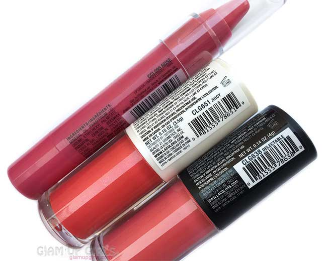 L.A. Colors Chunky Lip Pencil in Rose, Pout Lip Gloss Matte in Delectable and Super Shine in Juicy