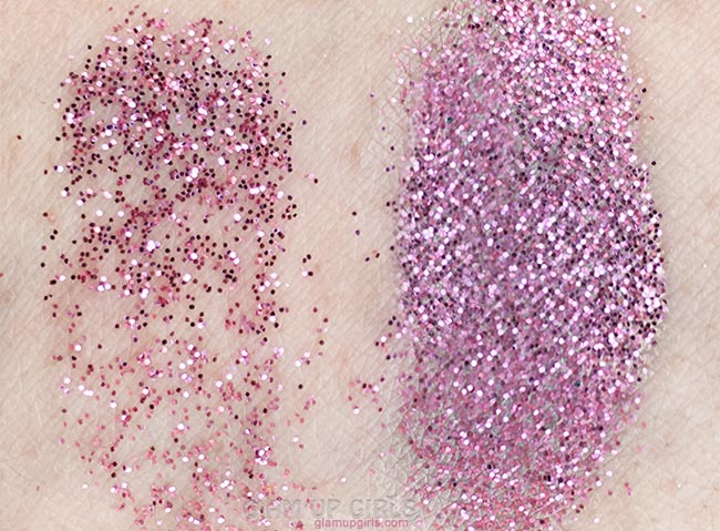 With and without NYX Glitter Primer
