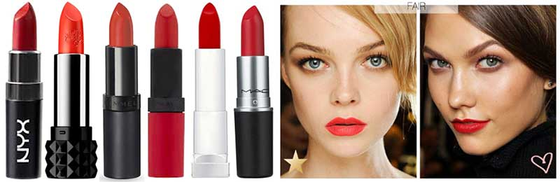 Best Red Lipstick for Light or yellow tone fair skin. L to R:NYX in Pure Red, Kat Von D Studded Lipstick in Countess, Rimmel Kate Lasting Finish Lipstick 12, Rimmel Kate Matte Lipstick in Kiss of Life, Maybelline Sensational Vivids in Infra-Red, MAC Lady Danger