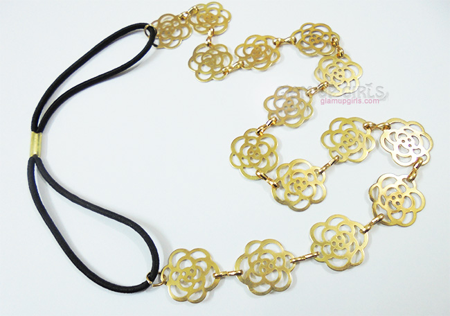 Gold Hollow Rose Elastic Hair Band