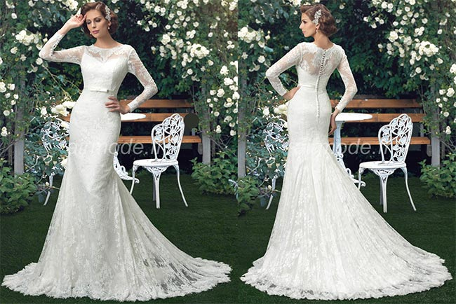 Long Sleeve Sizes Physical Stylish and Luxurious Lace Spring Wedding Dress Trumpet