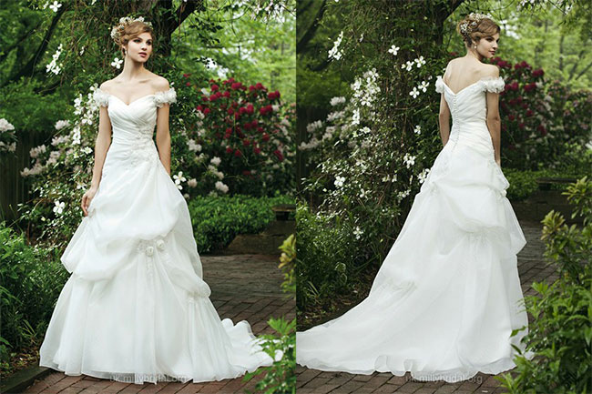 A-line Off-the-shoulder Organza Sweep Train White Flowers Wedding Dresses