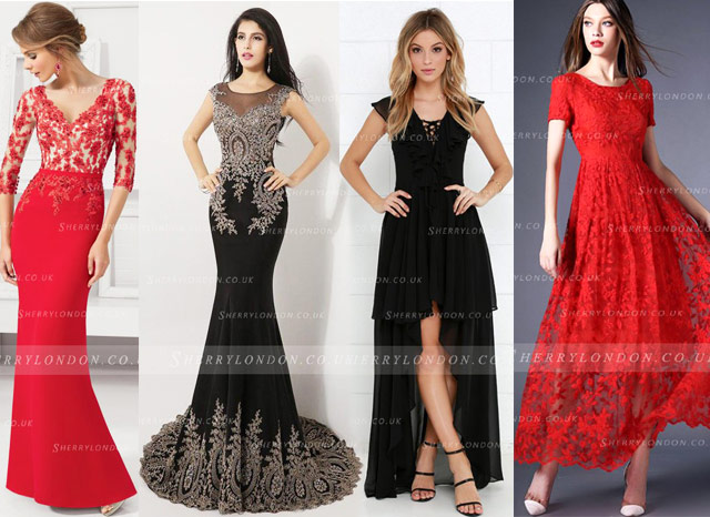 Black and Red evening dresses
