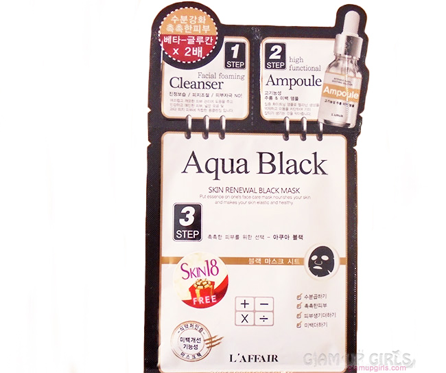 L'affair AQUA BLACK 3 step Skin Renewal Black Mask from Skin18