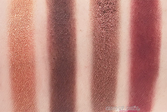Swatches of Bittersweet, Henna, Iconic and Rouge from Sigma Beauty Warm Neutrals Volume 2 Eyeshadow Palette