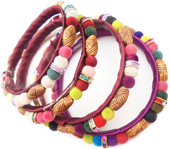 Bohemia Wooden Style and Wool Beads Bangles