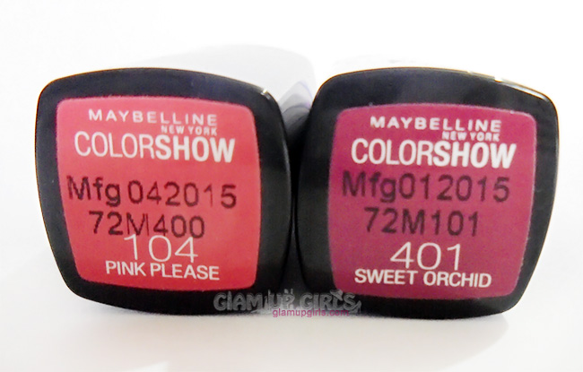 Maybelline ColorShow Lipsticks in Sweet Orchid and Pink Please - Review and Swatches