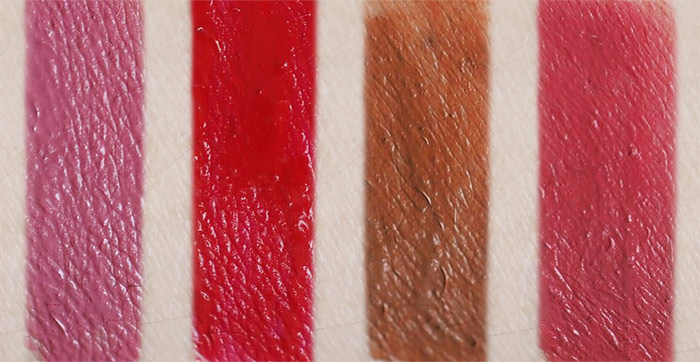 Swatches of Maybelline Superstay Matte Ink in Lover, Pioneer, Fighter and Ruler