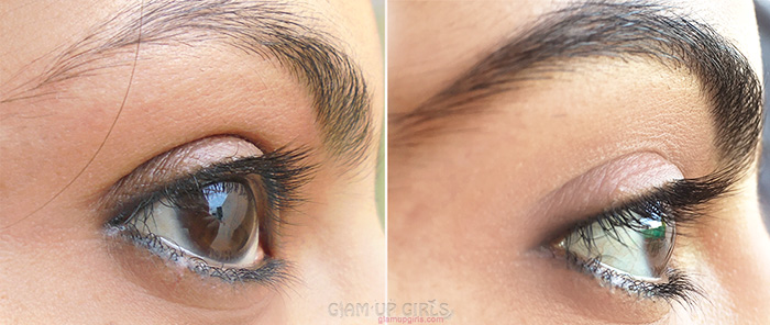 At left before and at right after using LiLash Eyelash Serum and LiBrow Eyebrow Serum