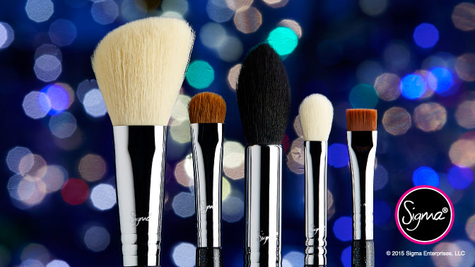 Sigma Beauty The Nightlife Brush Set $88 F40 Large Angled Contour E15 Flat Definer F35 Tapered Highlighter E55 Eye Shading E25 Blending