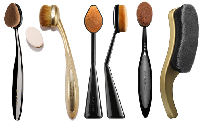 Dupes of Artis Brush left to right Missha Professional Oval, Etude House My Beauty Tool Secret Brush 121, Etude House My Beauty Tool Secret Brush 121, MAC Master Class Brush Oval 6 and Besame Boudoir Short Hair Contour Brush