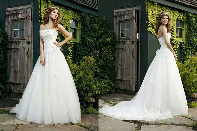 A-line Strapless Tulle Satin Chapel Train White Appliques Wedding Dresses