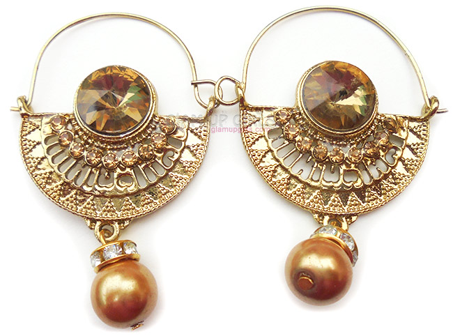 Traditional Golden Rhinestone and Pearl Earrings