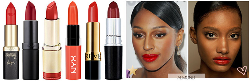 Best Red Lipstick for Dark Skin or Almond Tone. L to R: L'Oreal Colour Riche Liya's Red, Rimmel Kate Lasting Finish Lipstick 09, Milani Color Statement Lipstick in High Voltage, NYX Butter Lipstick in Hot Tamele, Revlon Super Lustrous Lipstick in Ravish Me Red, MAC Dare You