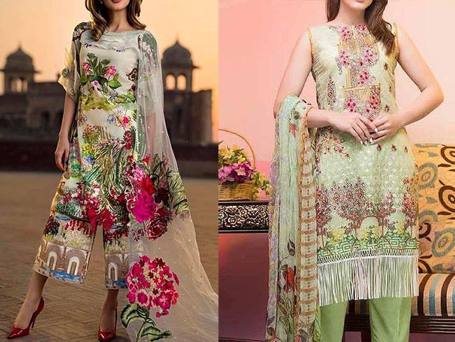 Lawn collection 2018 with net duppatta