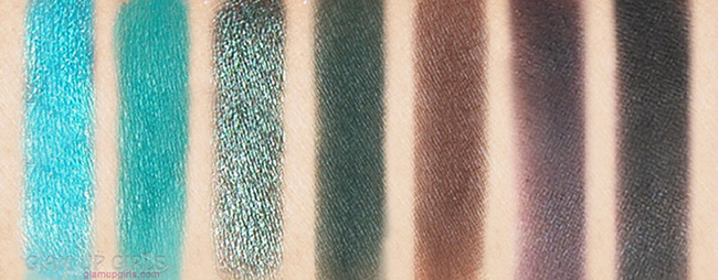 Morphe X Jaclyn Hill eye shadow palette swatches 5th row L-R: Pool Party, Jada, Diva, Enchanted, Central Park, Soda Pop, Abyss