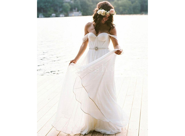 Tactile Floor-length Ivory Sleeveless Zipper Wedding Dresses
