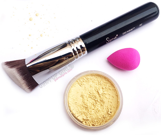 Sand bagging and powder to hide dark circles