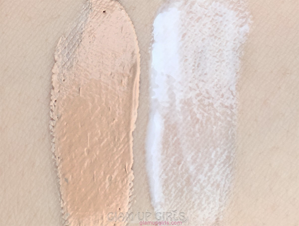 Swatches of Rimmel London Stay Matte Liquid Mousse Foundation in True Beige and Primer