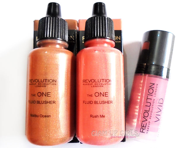Makeup Revolution The one Fluid Blusher in Rush Me , Malibu Ocean and  Vivid Blush Lacquer in Rush