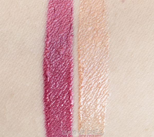 Swatches of ColourPop Ultra Glossy Lips in Wolfie and Contessa