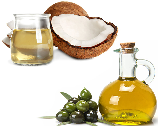 Coconut oil and olive oil for hairs