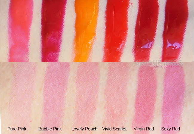 Berrisom My Lip Tint Pack swatches of Pure Pink, Bubble Pink, Lovely Peach, Vivid Scarlet, Virgin Red, Sexy Red