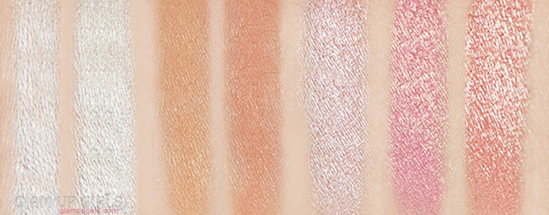 Morphe X Jaclyn Hill Eyeshadow swatches First row L-R: Enlight, Beam, Silk Creme, M.F.E.O., Faint, Sissy, Little Lady