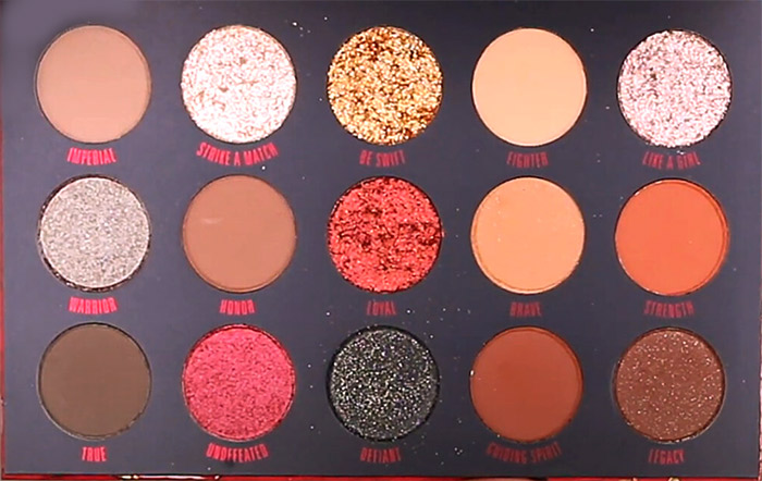 Close up of ColourPop Mulan Eyeshadow Palette