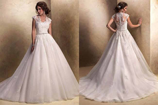 Ball Gown Square Tulle Sweep Train Lace Wedding Dresses