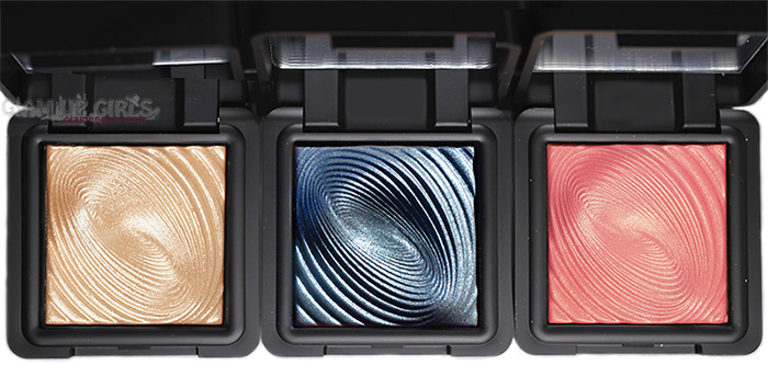 Kiko Milano Water Eyeshadow in 208 Light Gold, 215 Midnight Blue and 218 Grapefruit Pink
