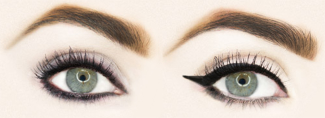 Smudge eyeliner and Winged eyeliner