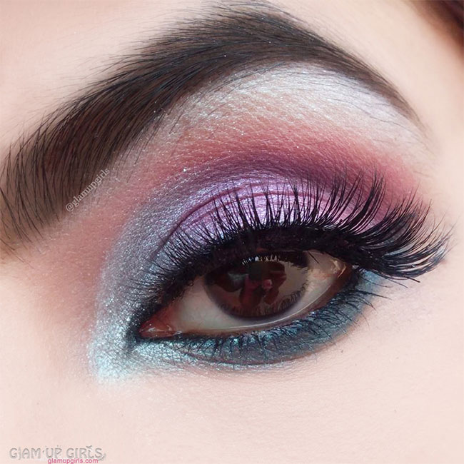 Turquoise Pink Eye Makeup Look - EOTD