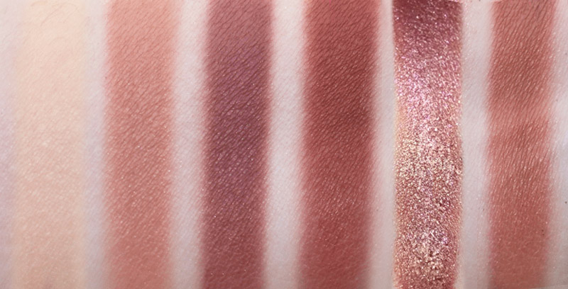 Huda Beauty New Nude Eyeshadow swatches in Concealed, Seacret, Tease, Raw, Charmed, Teddy