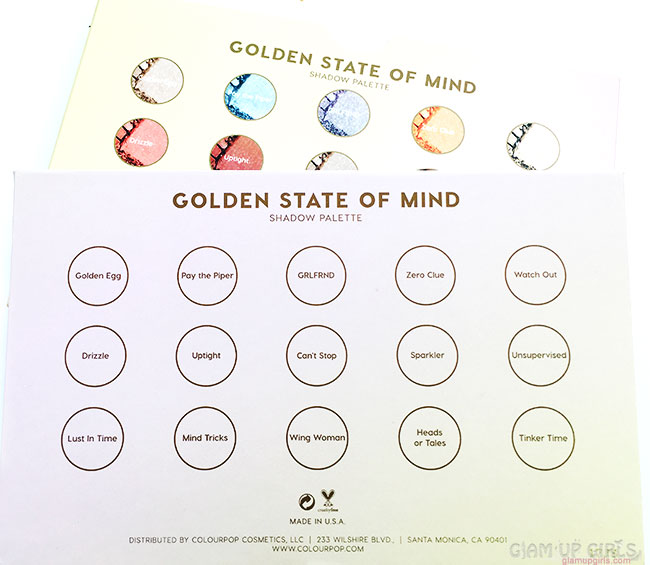 ColourPop Golden State of Mind Eyeshadow Palette Names
