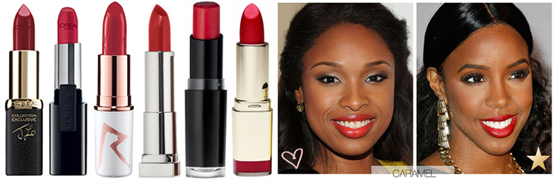 Best Red Lipstick for Caramel or Bronze Skin. L to R: L'Oreal Colour Riche Jlo's Red, L'oreal Infallible Le Rouge Ravishing Red, MAC Riri Woo, Maybelline Color Sensational Lip Color Very Cherry, Wet N Wild Lipstick Red Velvet, Milani Color Statement Lipstick in Cherry Crave