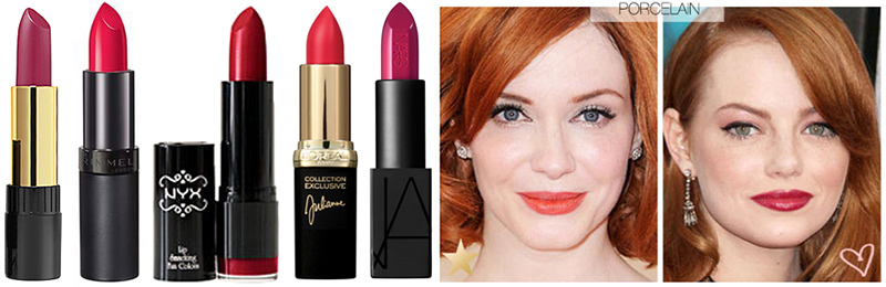 Best Red Lipstick for Porcelain or pink tone fair skin. L to R: Revlon Super Lustrous in Raspberry Bite, Rimmel Kate Lasting Finish Lipstick 10, NYX Chic Red, L'Oreal Colour Riche Julianne 's Red, NARS Audacious Lipstick Vera