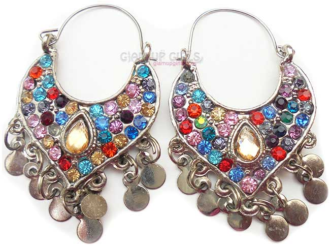 Traditional Multi Color Rhinestone Earrings
