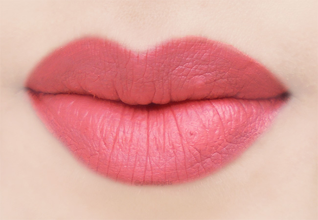 Wet n Wild MegaLast Liquid Catsuit Matte Lipstick in Coral Corruption lip swatch
