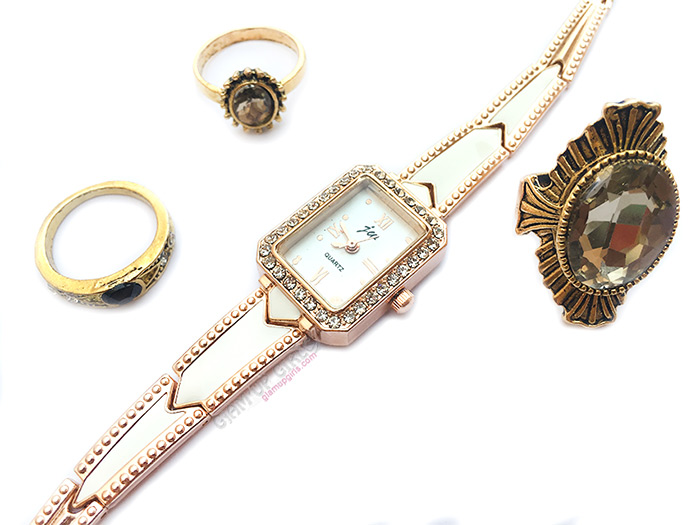 Antique Vintage Gold Midi Rings and Ladies Rhinestone Stainless Bracelet Quartz Wrist Watch from Tosave