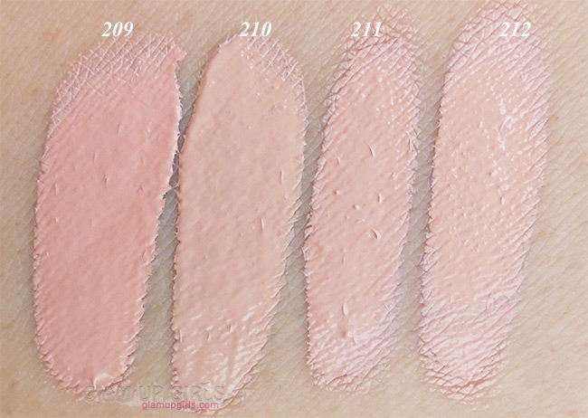 Dermacol Make-up Cover Foundation left to right 209, 210, 211 and 212