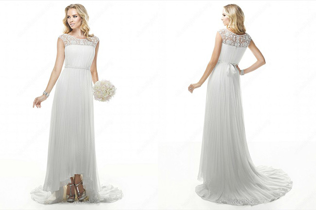 Sheath/Column Scoop Chiffon Asymmetrical Pleats Wedding Dresses