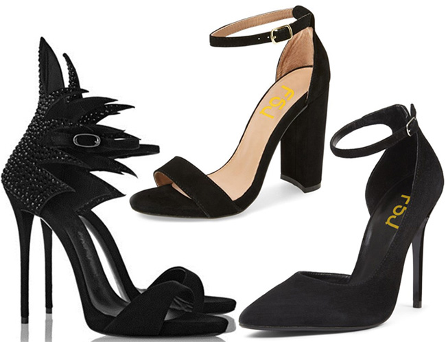 Black ankle strap heels by Fsjshoes
