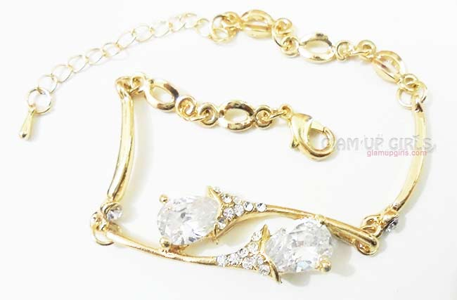 Gold Plated Bracelet Studded with Cubic Zirconia