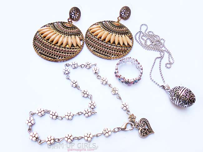 Boho Earrings, Vintage Anklet, Luminous Necklace and Ring from Born Pretty Store
